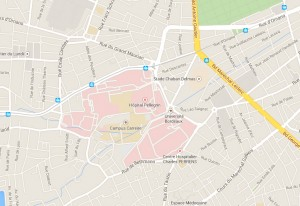 """Localisation plus précise du campus Carreire (près du CHU Pellegrin et du stade de Bordeaux). Arrêt du tram A """"Hôpital Pellegrin""""."""